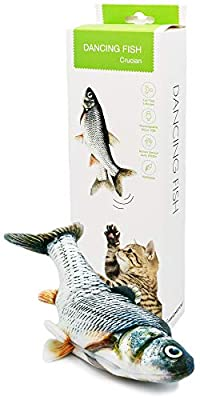 AmazinglyCat Dancing Fish - Flopping Catnip Kicker Toy for Cats, Interactive with Motion Sensor, USB Charged, Catnip Pouches Included (Original Model)