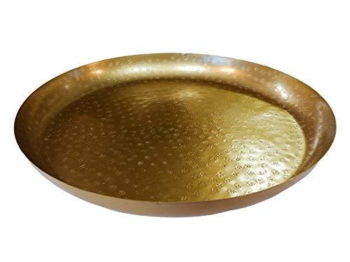 NOOR Handels GmbH Marokkanischer Metall Deko Teller Schale Tablett Gold Orientalisch