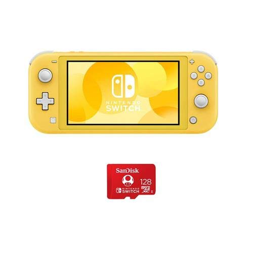 Nintendo Switch Lite, Yellow - with SanDisk 128GB UHS-I microSDXC Memory Card for The Switch
