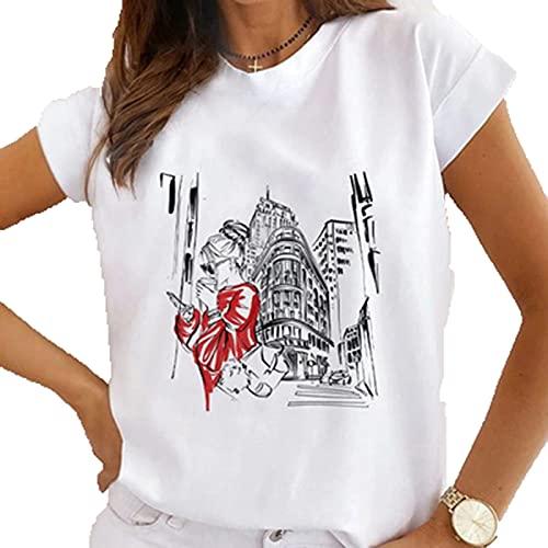 SLYZ Camiseta De Manga Corta con Estampado De Cuello Redondo De Verano para Mujer Blusa Blanca Informal De...