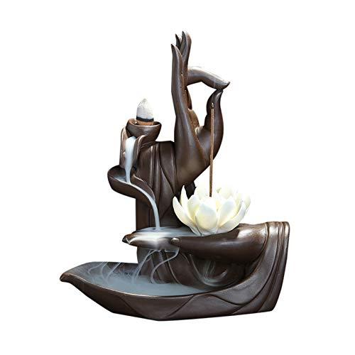 Zen Lotus - Quemador de incienso con 10 conos de incienso de reflujo d