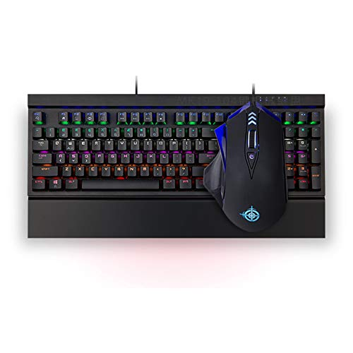 XINKO Wired Gaming Keyboard Mouse Combo LED Rainbow Backlit Gaming Keyboard RGB Gaming Mouse Ergonomic Wrist Rest 108 Keys Keyboard Mouse for Windows & Mac PC Gamers (Black)