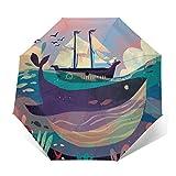 TISAGUER Paraguas automático de Apertura/Cierre,Cuadros Abstractos de Arte Moderno,Plantas en el Fondo del mar Profundo,enormes Ballenas,veleros en el mar,Paraguas pequeño Plegable a Prueba de Viento
