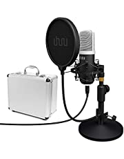 UHURU USB-pc-podcastmicrofoon, professionele 192 kHz / 24 bits-opname, condensatormicrofoon, kit met tafelstandaard, (UM940, zwart)