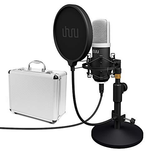 USB PC Podcast Mikrofon, UHURU Professionelle 192KHZ/24Bit Aufnahme Kondensator Mikrofon Kit mit Tischständer, (UM920, Black)