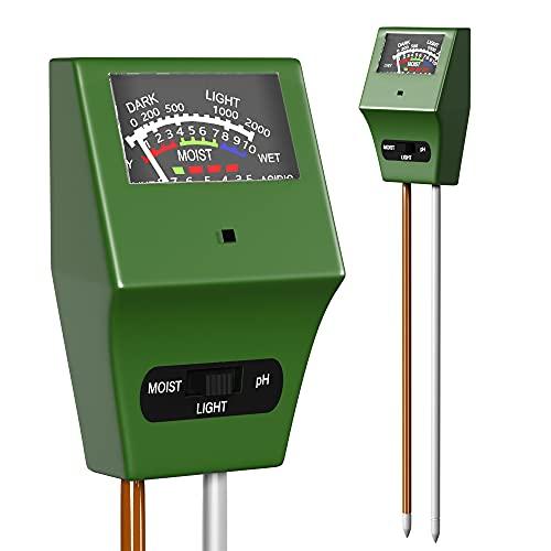 Soil Plant Moisture Meter, 3-1 Soil Moisture pH Light Meter, Water Sensor for...
