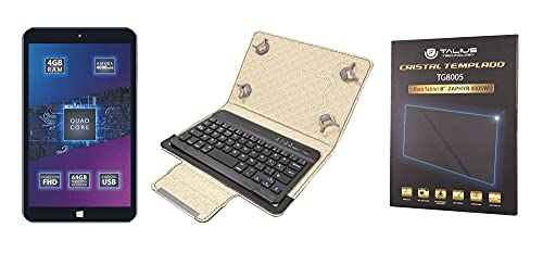 """[Pack Ahorro de TALIUS] Tablet Profesional 8"""" Zaphyr 8005W 4Gb RAM, 64Gb ROM, Windows 10 de 64 bits + Funda CV-3008 con Teclado Bluetooth 3.0 + Protector Cristal Templado."""
