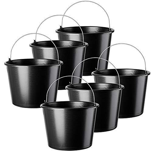 KADAX Baueimer mit Griff, 16L, Mörteleimer aus Kunststoff, runder Eimer für Baustelle und Garten, Wassereimer, Stabiler Zementeimer mit Gießrand, schwarz, Putzeimer, Mörtelkasten (6)