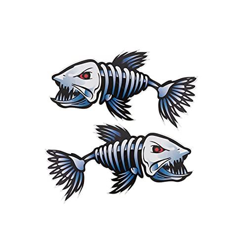 UTDKLPBXAQ 2pcs tiburón Esqueleto Pegatina PVC Remo decoración calcomanía Impermeable Decorativo gráfico Paster para Kayak Barco Marino Coche Pesca Barco Canoa camión Maleta Adolescentes Adultos