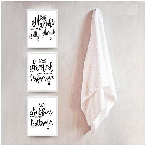 MULMF Toilet Modern citaat afdrukken Posters Wassen uw handen brieven canvas schilderij badkamer kunst voor toilet Home Decor schilderijen - 20X30Cmx3 niet ingelijst
