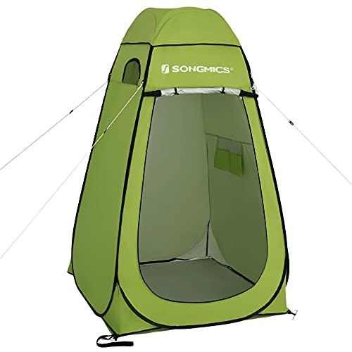 SONGMICS Pop-Up-Zelt, Toilettenzelt, Umkleiderzelt, für Outdoor, Camping, Angeln, Strand, Dusche, Toilette, Tragetasche mit Reißverschluss, grün GPT001C01