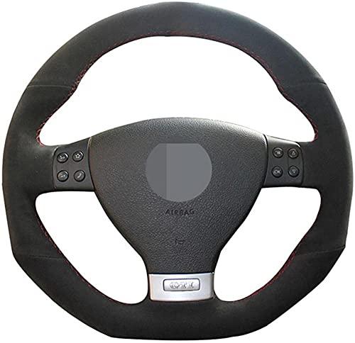 Cubierta del Volante para Volkswagen Golf 5 Mk5 GTI Golf 5 R32 Passat R GT 2005 Cubierta del Volante del Coche de Cuero de Gamuza Negra Cosida a Mano