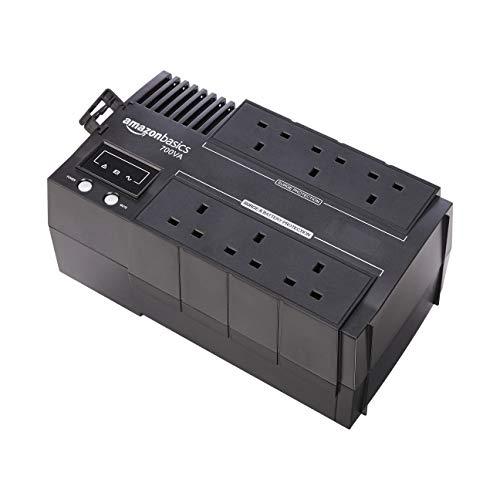 AmazonBasics – SAI de línea interactiva de 700 VA con software de apagado y protección contra salidas de tensión, conector del Reino Unido