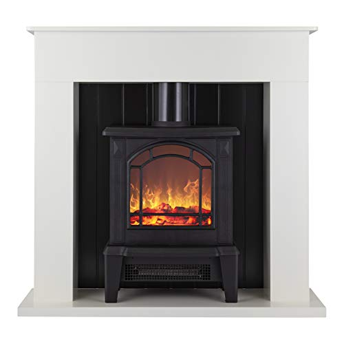 Warmlite WL45037W Ealing Electric Fireplace Suite with Adjustable Thermostat Control, 2 Heat Settings, LED Flame Effect, Safety Cut-Out System, White