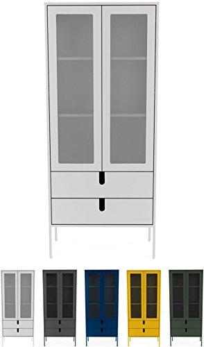 tenzo 8565-001 UNO Designer Vitrine 2 Portes, 2 tiroirs, Blanc, MDF Particules ép. 19 et 16 mm Panneau arrière laqué. Poignées en matière Plastique, 178 x 76 x 40 cm (HxLxP)