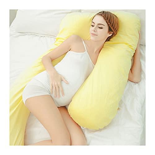 SHYPwM Almohada de Maternidad Lateral de la Almohada de Maternidad de la Almohada posicional Lateral del Embarazo del Cuerpo Completo con la Cubierta reemplazable y Lavable (Color : Yellow)