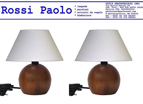 Lampada lumetto abat jour da comodino sfera in legno tornito con paralume; produzione propria, made in Italy (ciliegio coppia)