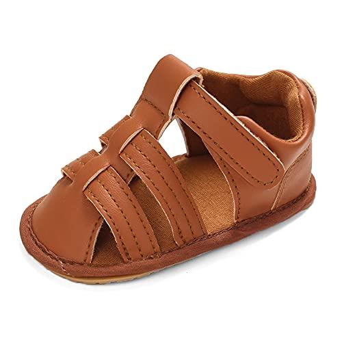 Cheerful Mario Zapatos Sandalias Para bebé Niñas Niños Primer Caminar Zapatos Con Punta Cerrada Para Niños Marrón 6-12 Meses