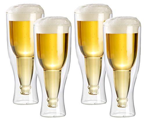 infactory Deko-Bierglas: Doppelwandiges Bierglas 0,2 l im 4er-Set (Bierglas in Flaschenoptik)