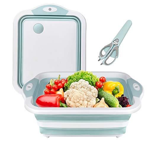 Gintan 3 in 1 Tabla de Cortar Plegable, Multifunción Tabla de Corta Cocina con Escurridor de Drenaje y Tijeras Multifunción,Tabla de Cortar Portátil Cesta de Drenaje para Cocina Frutas Verduras(Azul)