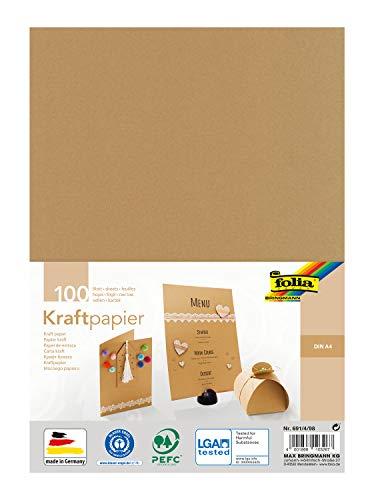 folia 691/4/98 - Kraftpapier natur, 120 g/m², DIN A4, 100 Blatt, zum individuellen Basteln und Gestalten von Grußkarten, Einladungen, Tischkarten, uvm.