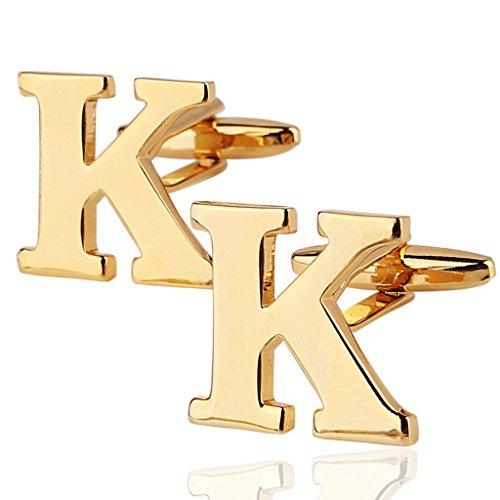 AmDxD Bijoux Chemises Collections de boutons de manchette pour homme Lettre de l'alphabet K Doré Environ 18 20