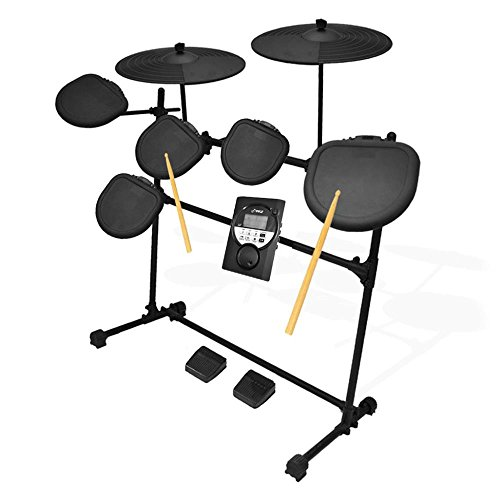 Pyle Pro 9 Piece Electronic Drums Set - Electric Drum Kit with 5 Drum Pad Heads, 2 Cymbal Crash Pads, Hi Hat and Bass Pedal Controller, Module, Stand Rack, Sticks - Professional / Beginners - PED021M