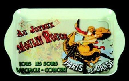 FRANSE METAAL VINTAGE TRAY 14x21cm RETRO AD CABARET MOULIN ROUGE SHOW PARIJS
