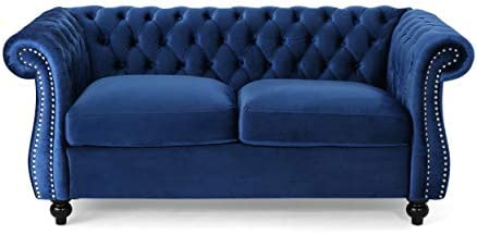 Best Christopher Knight Home 306027 Karen Traditional Chesterfield Loveseat Sofa, Navy Blue and Dark Brow