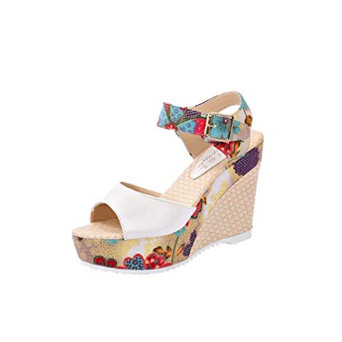 OHQ Bohemia Sandalias De TacóN De Aguja Impresas para Mujeres Blanco Rojo Azul Cuero Plano PedreríA Beige Moda Mujeres Zapatos De CuñA De Verano De Gran TamañO