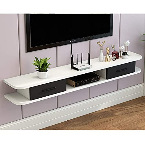 PIVFEDQX Floating Shelf Modern Floating TV Shelf TV Stand Board Rack TV Cabinet Media Console Wall Mounted Hanging/Video Console for Cable Boxes Routers Remotes DVD Players Game Consoles