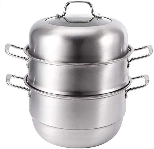 Wifehelper Olla de cocción al Vapor, Olla de Vapor de 3 Capas Cocina Olla de Sopa de Acero Inoxidable Olla de cocción al Vapor