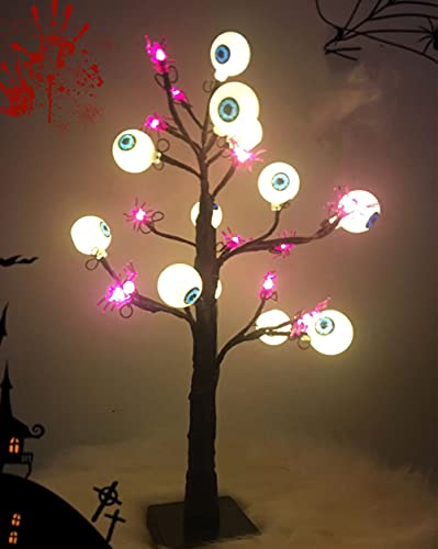 Luz de árbol de Halloween con 24 LED Brillo negro Espeluznante Calabaza Araña Mesa Bonsai Árbol Luz USB alimentado por batería (Luz del árbol del ojo fantasma)