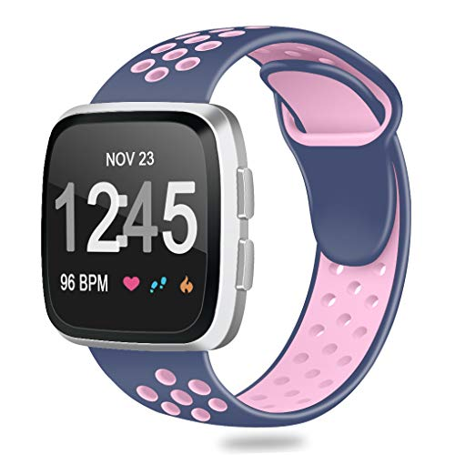 CreateGreat for Fitbit Versa Bands Sport Silicone,Replacement Breathable Sport Strap Wristbands with Air Holes for Fitbit Versa Smart Watch Women Men