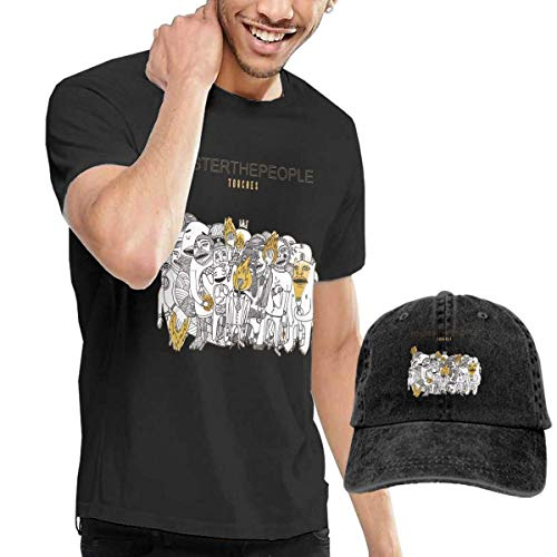 AOCCK Camisetas y Tops Hombre Polos y Camisas, GabrielR Men's Foster The People Torches Tshirt and Washed Denim Baseball Dad Hats Black