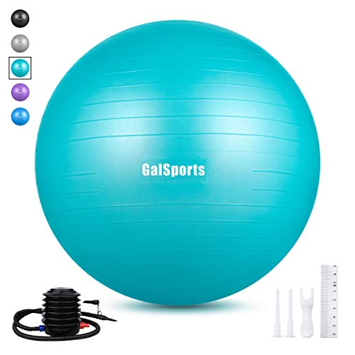 GalSports Extra Thick Exercise Ball, Anti-Burst Yoga Ball Chair Supports 2206lbs with Quick Pump, Stability Fitness Ball for Birthing & Core Strength Training & Physical Therapy