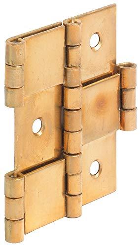 Gedotec Paraventscharnier Tür Möbelscharnier gerolltes Scharnier in beide Richtungen beweglich | 3-teilig für Holzdicke 20 mm | Messing poliert | 1 Stück - Pendeltürband faltbar & flexibel