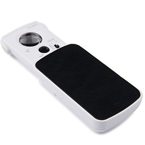 MEI XU Bildschirmlupe Multifunktionale Handheld LED Taschenlupe 30 X 60X Schmucklupe 55X Mikroskop und UV mit Holster