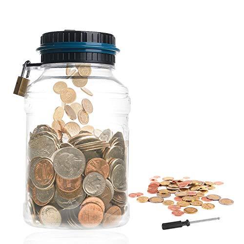 Ulikey Contador Digital de Hucha per EUR, Automático Moneda Contando Caja de Dinero, Banco de Dinero Seguro Moneda de Ahorro de Contenedores para Niños y Adultos