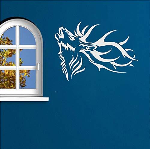 wuyii 57x40 cm dier natuur muursticker hertshoorn tribal kamerdecoratie vinyl sticker woonkamer decoratie muurschildering B