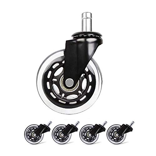 SMLZV Lenkrollen für Möbel, Swivel Transparent Caster, 3inch PU Rubber Heavy Duty Quiet Casters for den Schutz von Holzfußböden Teppichfliesen, for Stuhl, Tisch Trolley-5 Stück
