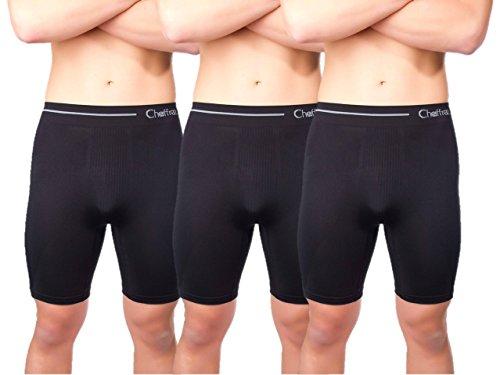 Chaffree 3-er Pack Coolmax Herren-Boxershorts mit langem oder kurzem Bein, Anti-Reibung, nahtlos, antibakteriell, atmungsaktiv, Feuchtigkeit, Unterhose mit Schweiß-Kontrolle, schnell trocknende Unterwäsche für den Sport, Fitnessstudio, Fitness. Gr. Medium, jet black