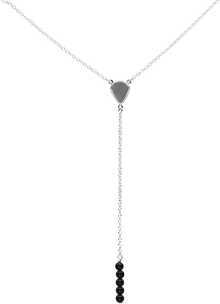 Sterling Silver Stone Beads Super beauty product restock quality top! Bar Cable Ranking TOP11 Linear Neckl Drop Y-Shaped