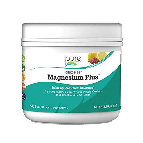 Pure Essence Labs Ionic Fizz Magnesium Plus - Calm Sleep Aid and Natural Anti Stress Supplement Powder - Raspberry Lemonade - 6.03oz