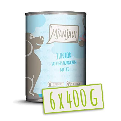 MjAMjAM - Premium Nassfutter für Hunde - Junior saftiges Hühnchen mit Ei - getreidefrei mit extra viel Fleisch, 6er Pack (6 x 400 g)