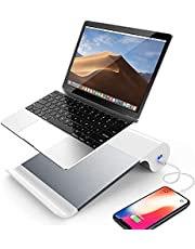 ノート パソコン スタンド ipad スタンド タブレット pcスタンド 折りたたみ 2USBポート充電 人間工学設計 高さ調整 アルミ 滑り止め 軽量 デスクワーク PC作業 在宅勤務 Macbook/Macbook Air/Macbook Pro/iPad/タブレットノートPC 10-15.6インチに対応 ラップトップ スタンド パソコン台