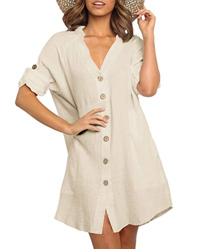 YOINS Mujer Vestido Camisero Vestido con Cuello En V Camisa Manga Larga con Botones Moda Vestido Casual Camisa Vestido Túnica Caqui S