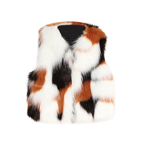 Fineser(TM Little Girls Faux Fur Vest Waistcoat Winter Warm Long Hair Coat Outwear for 3-8Years (Multicolor, 8T)