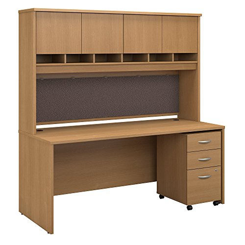 Bush Business Furniture Series C 72W X 30D Office Desk with Hutch and Mobile File Cabinet - Light Oak 71W X 29D X 73H ERGONOMICHOME BUSH BUSINESS FURNITURE