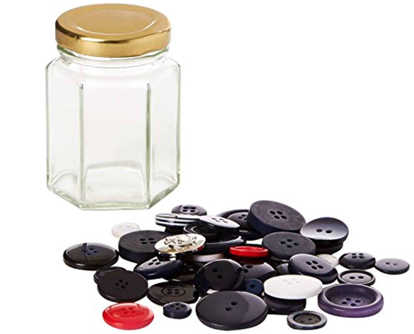 The Button Company 8 x 5 x 5 cm 45 g Polyester Buttons and Glass Jar Mixed Button Jar Nautical Theme Jar, Dark Blues with A Splash of Red and White